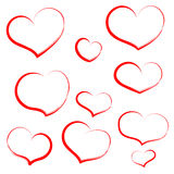 Set hand draw heart in red outline. Hearts for wedding, valentin Royalty Free Stock Images