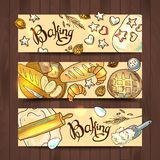 Set of 3 hand-draw horizontal baners with baking Stock Image
