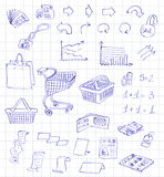 Set hand draw pictogram supermarket services Royalty Free Stock Photography