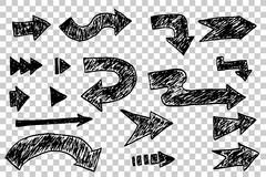 Set of hand draw sketch of Arrow Royalty Free Stock Images