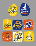 Set of hand draw templates Happy Easter. Easter Vintage cards for congratulations on the holiday. Set of hand draw templates Happy Easter. Typography Lettering Royalty Free Stock Images