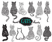 Set of hand draw textured cats in graphic doodle style Royalty Free Stock Photos