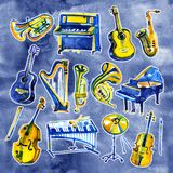 Set of hand draw watercolor musical instruments on blue background. Set of hand draw watercolor musical instruments Stock Photos
