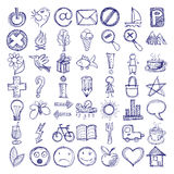 Set of 49 hand draw web icon design elements. Set of 49 hand draw web doodle icon design elements stock illustration