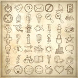 Set of 49 hand draw web icon design elements. On grunge background royalty free illustration