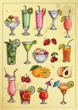 Set of hand drawing alcohol coctails Royalty Free Stock Image