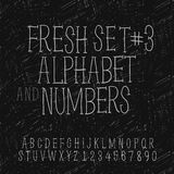 Set of hand drawing alphabet and numbers. Vector Eps10 illustration Royalty Free Stock Photos