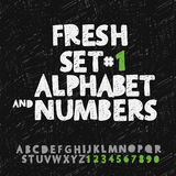 Set of hand drawing alphabet and numbers. Vector Eps10 illustration Royalty Free Stock Photo