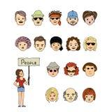 Set of hand drawing avatars Stock Photos