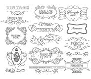 Set of hand-drawing calligraphic floral design Royalty Free Stock Photos