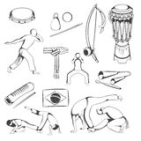 Set of hand drawing Capoeira elements. Stock Image