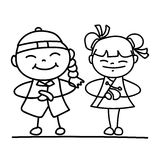 Set of hand drawing cartoon character people Happy Chinese New Y Stock Photos