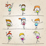 Set of hand drawing cartoon happy kids running marathon Stock Photos