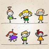 Set of Hand drawing cartoon happy people Stock Image