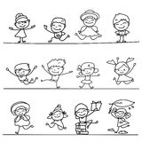 Set of Hand drawing cartoon happy people Stock Image