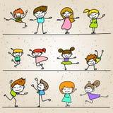 Set of Hand drawing cartoon happy people Stock Photos