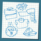 Set of hand drawing cat with banner logo  Stock Images