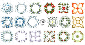 Set hand drawing color zentangle floral decorative frame Royalty Free Stock Photos