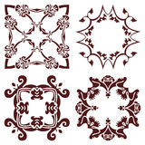 Set hand drawing decorative frame, silhouette in marsala color. Italian majolica style Royalty Free Stock Image