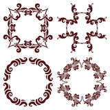 Set hand drawing decorative frame, silhouette in marsala color. Italian majolica style Royalty Free Stock Photo