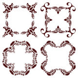 Set hand drawing decorative frame, silhouette in marsala color. Italian majolica style Stock Image