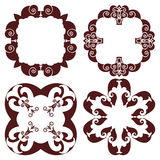 Set hand drawing decorative frame, silhouette in marsala color. Italian majolica style Stock Images