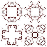 Set hand drawing decorative frame, silhouette in marsala color. Italian majolica style Royalty Free Stock Photography
