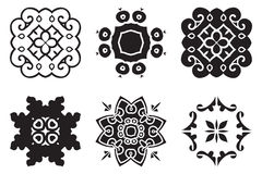 Set hand drawing decorative mandala elements Stock Photos
