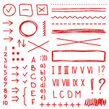 Set of hand drawing elements for edit and select text. Set of hand drawing elements for mark, edit and select text. Red color Royalty Free Stock Image