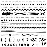 Set of hand drawing elements for edit and select text. Royalty Free Stock Images
