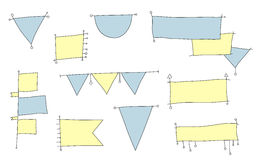 Set of hand-drawing flags for infographic Royalty Free Stock Photography