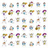 Set of hand drawing happy kids Royalty Free Stock Photos