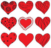 Set of hand drawing hearts Stock Photography
