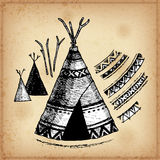 Set of hand drawing ink black and white wigwams. Vector illustration. Stock Image