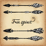 Set of hand drawing ink elements of arrows and arrows. Vector illustration. Stock Photography