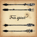 Set of hand drawing ink elements of arrows and arrows. Vector illustration. Royalty Free Stock Images