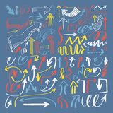Set of hand drawing isolated arrows collection on blue backgroun. D for advertising and business presentations, design elements vector illustration Royalty Free Stock Images