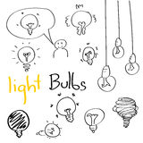 Set of Hand drawing light bulbs Stock Image