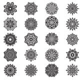 Set hand drawing ornate mandala element in eastern style Stock Photography