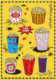 Set of hand drawing popcorn on yellow background Stock Image