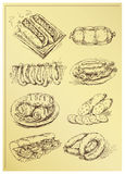 Set of hand drawing sausage. And sandwiches Stock Photos