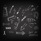 Set of hand- drawing sketch arrows. On blackboard background for design Stock Images