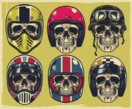 Set of hand drawing skulls wearing various of motorcycle helmet. Vector of Set of hand drawing skulls wearing various of motorcycle helmet Stock Photo