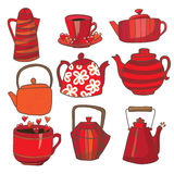 Set of hand drawing tea. Set of teapots and mugs. Done in red color scheme. Kettles hand drawing. Background white Royalty Free Stock Photo