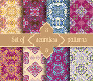 Set hand drawing tile vintage color seamless pattern. Italian majolica style Royalty Free Stock Images