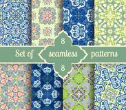 Set hand drawing tile vintage color seamless pattern. Italian majolica style Stock Images