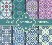 Set hand drawing tile vintage color seamless pattern. Italian majolica style Royalty Free Stock Photo