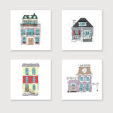 Set of hand drawing vintage houses. Royalty Free Stock Photo