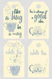 Set of hand drawing white tea labels with tea leaves flavor. Stock Images