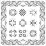 Set hand drawing zentangle decorative frame. Italian majolica style Stock Image